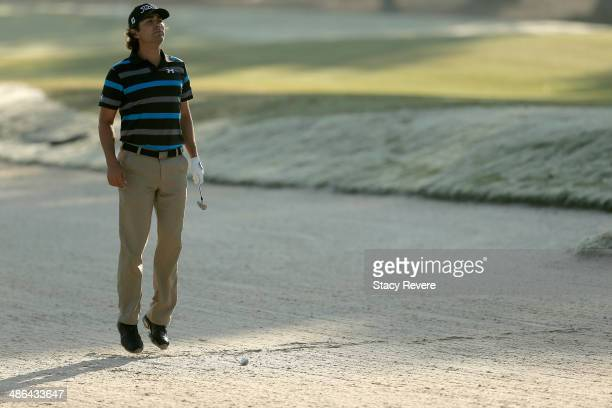Martin Flores reacts after taking his shot on the 3rd during Round One of the Zurich Classic of New Orleans at TPC Louisiana on April 24 2014 in...