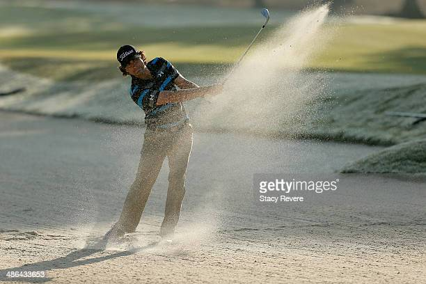 Martin Flores takes his shot out of the bunker on the 3rd during Round One of the Zurich Classic of New Orleans at TPC Louisiana on April 24 2014 in...