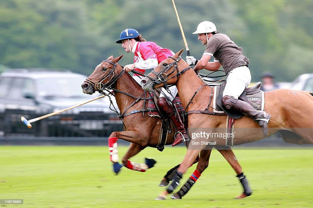 Martin Foll of team Emlor Sam Gairdner of team Clarita in action during The Credit Suisse Royal Windsor Cup Final at Guards Polo Club on June 24 2007...