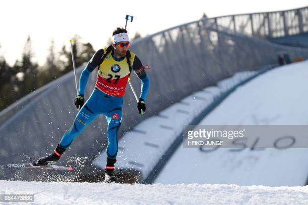 Martin Fourcade from France competes in IBU Biathlon World Cup Men 10 km sprint competition in Oslo on March 17 2017 / AFP PHOTO / NTB Scanpix /...