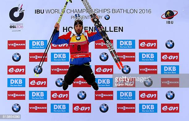 Martin Fourcade of france celebrates after winning the gold medal in the men's 10km sprint during day three of the IBU Biathlon World Championships...
