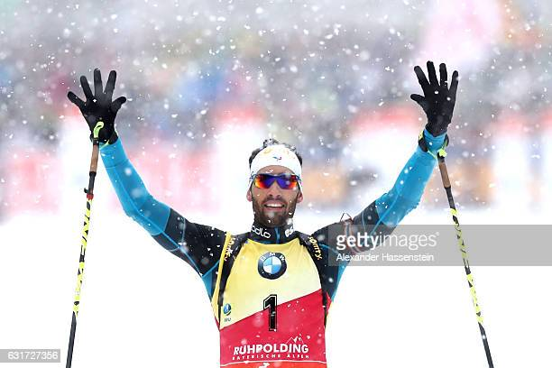 Martin Fourcade of France celebrates winning the 125 km Men's Pursuit during the IBU Biathlon World Cup at Chiemgau Arena on January 15 2017 in...