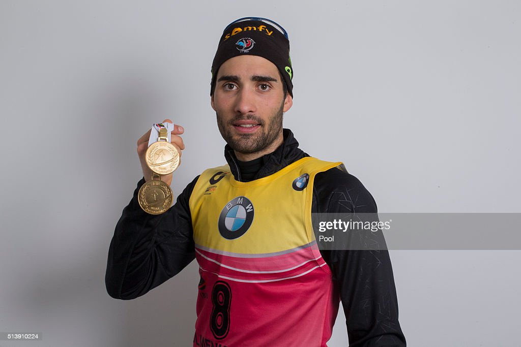 <a gi-track='captionPersonalityLinkClicked' href=/galleries/search?phrase=Martin+Fourcade&family=editorial&specificpeople=5656850 ng-click='$event.stopPropagation()'>Martin Fourcade</a> of France celebrates winning the gold medal in the men's 10km sprint during day three of the IBU Biathlon World Championships at Medal Plaza on March 5, 2016 in Oslo, Norway.