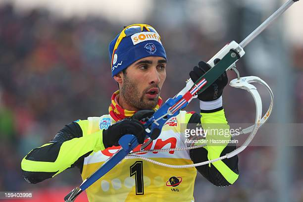 Martin Fourcade of France competes at the men's 15km mass start event during the IBU Biathlon World Cup at Chiemgau Arena on January 13 2013 in...