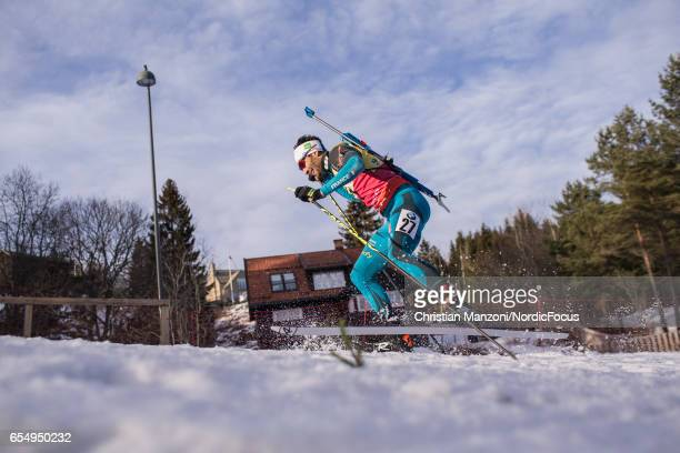 Martin Fourcade of France competes during the 125 km men's Pursuit on March 17 2017 in Oslo Norway
