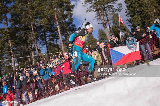 Martin Fourcade of France competes during the 15 km men's Mass Start on March 18 2017 in Oslo Norway