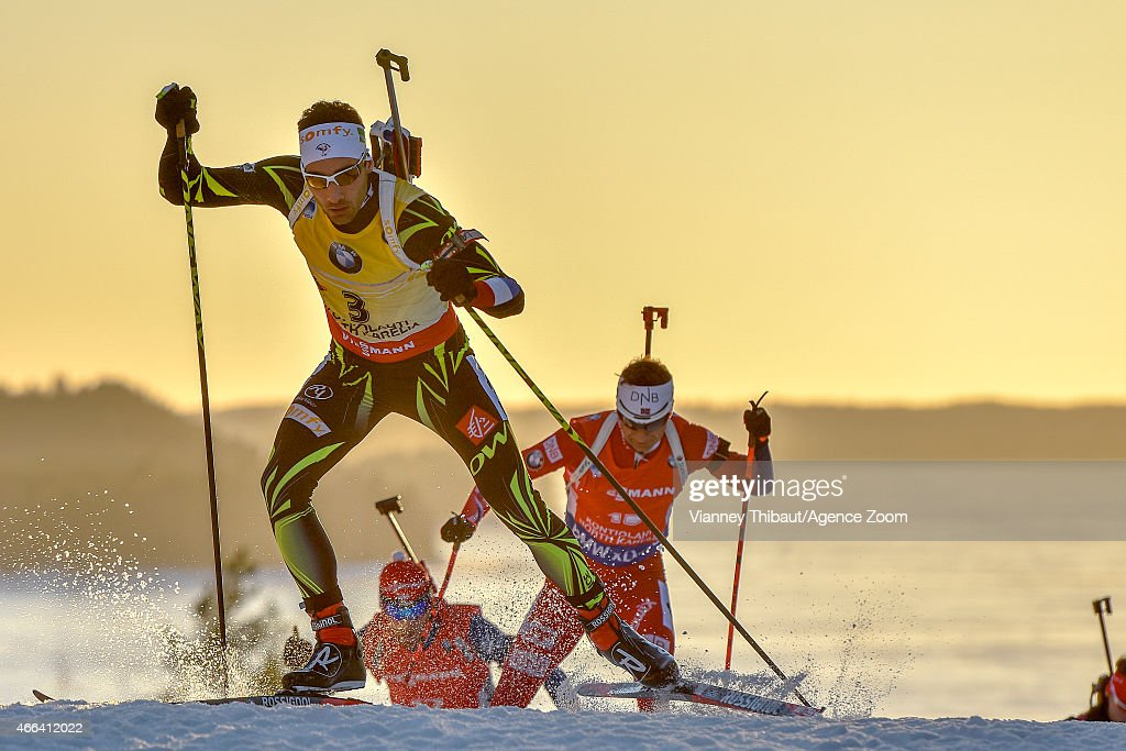 <a gi-track='captionPersonalityLinkClicked' href=/galleries/search?phrase=Martin+Fourcade&family=editorial&specificpeople=5656850 ng-click='$event.stopPropagation()'>Martin Fourcade</a> of France competes during the IBU Biathlon World Championships Men's and Women's Mass Start on March 15, 2015 in Kontiolahti, Finland.