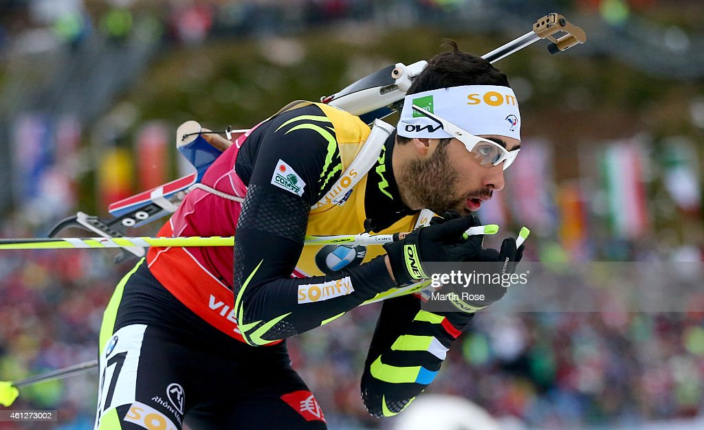<a gi-track='captionPersonalityLinkClicked' href=/galleries/search?phrase=Martin+Fourcade&family=editorial&specificpeople=5656850 ng-click='$event.stopPropagation()'>Martin Fourcade</a> of France competes during the Men's 10 km sprint of the BMW World Cup on January 10, 2015 in Oberhof, Germany.