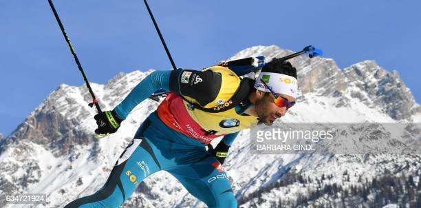 Martin Fourcade of France competes during the Men's 10 km Sprint race during the 2017 IBU World Championships Biathlon in Hochfilzen on February 11...