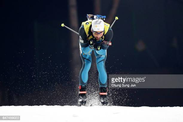 Martin Fourcade of France competes in the Men 10km Sprint during the BMW IBU World Cup Biathlon 2017 test event for PyeongChang 2018 Winter Olympic...