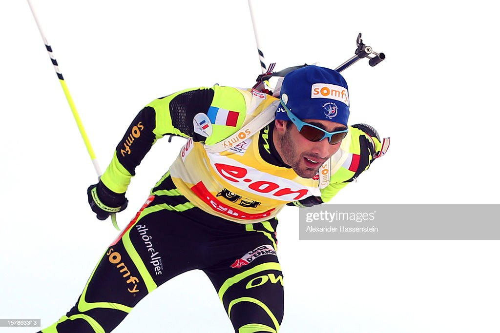<a gi-track='captionPersonalityLinkClicked' href=/galleries/search?phrase=Martin+Fourcade&family=editorial&specificpeople=5656850 ng-click='$event.stopPropagation()'>Martin Fourcade</a> of France competes in the men's 10km sprint event during the IBU Biathlon World Cup on December 7, 2012 in Hochfilzen, Austria.