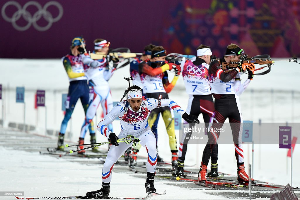 Martin Fourcade of France competes in the Men's 125 km Pursuit during day three of the Sochi 2014 Winter Olympics at Laura Crosscountry Ski Biathlon...