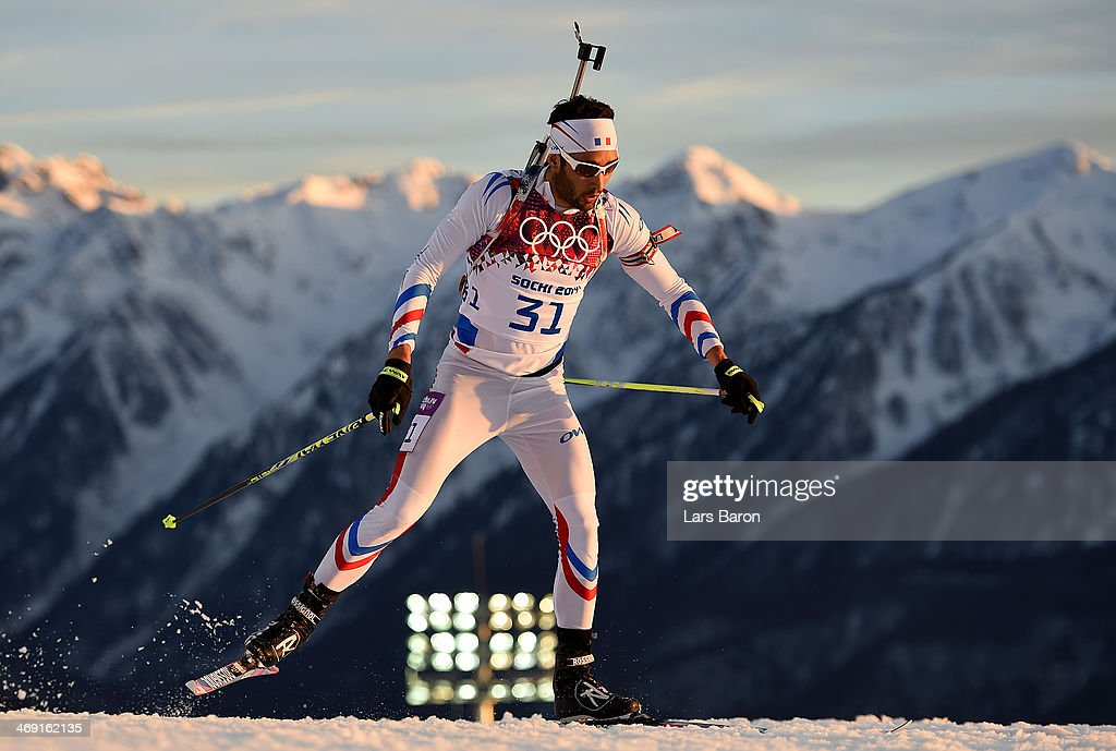 <a gi-track='captionPersonalityLinkClicked' href=/galleries/search?phrase=Martin+Fourcade&family=editorial&specificpeople=5656850 ng-click='$event.stopPropagation()'>Martin Fourcade</a> of France competes in the Men's Individual 20 km during day six of the Sochi 2014 Winter Olympics at Laura Cross-country Ski & Biathlon Center on February 13, 2014 in Sochi, Russia.