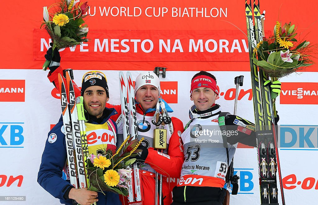 <a gi-track='captionPersonalityLinkClicked' href=/galleries/search?phrase=Martin+Fourcade&family=editorial&specificpeople=5656850 ng-click='$event.stopPropagation()'>Martin Fourcade</a> (silver) of France, <a gi-track='captionPersonalityLinkClicked' href=/galleries/search?phrase=Emil+Hegle+Svendsen&family=editorial&specificpeople=831528 ng-click='$event.stopPropagation()'>Emil Hegle Svendsen</a> (gold) of Norway and <a gi-track='captionPersonalityLinkClicked' href=/galleries/search?phrase=Jakov+Fak&family=editorial&specificpeople=5644158 ng-click='$event.stopPropagation()'>Jakov Fak</a> (bronze) of Czech Republic celebrate after men's 10km sprint event during the IBU Biathlon World Championships at Vysocina Arena on February 9, 2013 in Nove Mesto na Morave, Czech Republic.