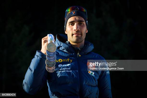 Martin Fourcade of France in action during the IBU Biathlon World Championships Men's and Women's Mass Start on February 19 2017 in Hochfilzen Austria