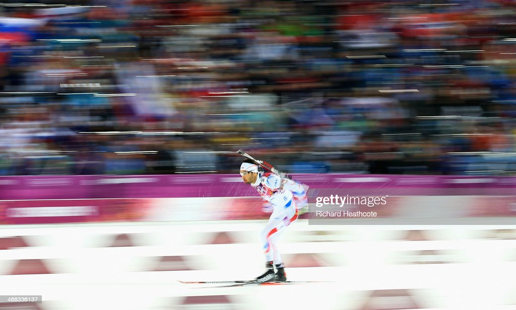 <a gi-track='captionPersonalityLinkClicked' href=/galleries/search?phrase=Martin+Fourcade&family=editorial&specificpeople=5656850 ng-click='$event.stopPropagation()'>Martin Fourcade</a> of France in action during the Men's 12.5 km Pursuit during day three of the Sochi 2014 Winter Olympics at Laura Cross-country Ski & Biathlon Center on February 10, 2014 in Sochi, Russia.