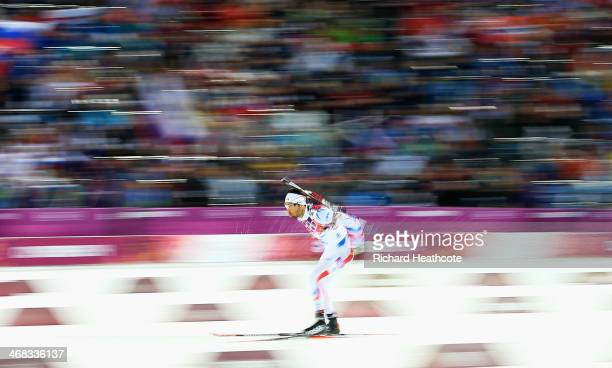 Martin Fourcade of France in action during the Men's 125 km Pursuit during day three of the Sochi 2014 Winter Olympics at Laura Crosscountry Ski...