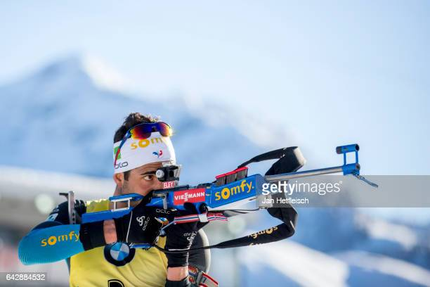 Martin Fourcade of France in action during the men's 15km mass start competition of the the IBU World Championships Biathlon 2017 at the Biathlon...