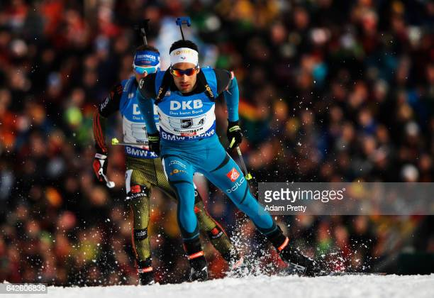 Martin Fourcade of France in action during the Men's 4x 75km relay competition of the IBU World Championships Biathlon 2017 at the Biathlon Stadium...