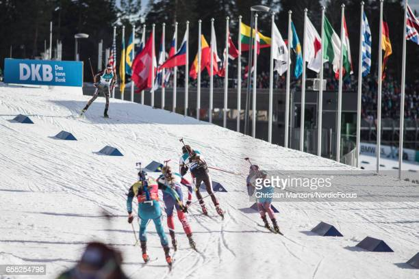 Martin Fourcade of France Johannes Thingnes Boe of Norway Dominik Landertinger of Austria and Anton Shipulin of Russia compete during the 15 km men's...