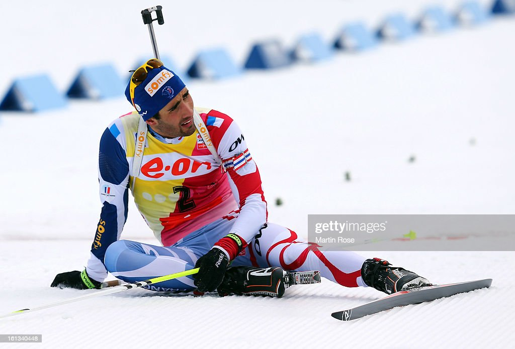 Martin Fourcade of France looks dejected after he crosses the finish line in the men's 12.5km pursuit event during the IBU Biathlon World Championships at Vysocina Arena on February 10, 2013 in Nove Mesto na Morave, Czech Republic.