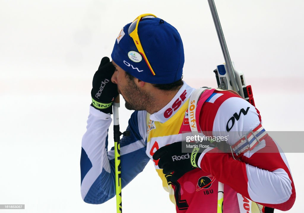 <a gi-track='captionPersonalityLinkClicked' href=/galleries/search?phrase=Martin+Fourcade&family=editorial&specificpeople=5656850 ng-click='$event.stopPropagation()'>Martin Fourcade</a> of France looks dejected after the Men's 15km Mass Start during the IBU Biathlon on February 17, 2013 in Nove Mesto na Morave, Czech Republic.