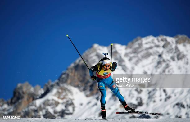 Martin Fourcade of France on his way to the Bronze medal in the Men's 20km Individual competition of the IBU World Championships Biathlon 2017 at the...