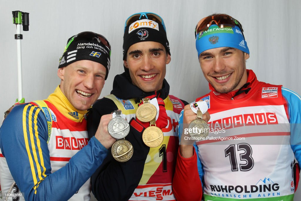 <a gi-track='captionPersonalityLinkClicked' href=/galleries/search?phrase=Martin+Fourcade&family=editorial&specificpeople=5656850 ng-click='$event.stopPropagation()'>Martin Fourcade</a> of France takes 1st place, <a gi-track='captionPersonalityLinkClicked' href=/galleries/search?phrase=Carl+Johan+Bergman&family=editorial&specificpeople=729358 ng-click='$event.stopPropagation()'>Carl Johan Bergman</a> of Sweden takes 2nd place, <a gi-track='captionPersonalityLinkClicked' href=/galleries/search?phrase=Anton+Shipulin&family=editorial&specificpeople=6678388 ng-click='$event.stopPropagation()'>Anton Shipulin</a> of Russia takes 3rd place competes during the IBU Biathlon World Championships Men's Pursuit on March 04, 2012 in Ruhpolding, Germany.
