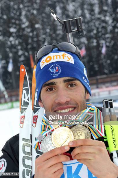 Martin Fourcade of France takes 1st place during the IBU Biathlon World Championships Men's 125km Pursuit on March 6 2011 in KhantyMansiysk Russia