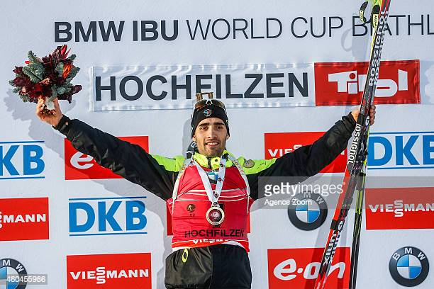 Martin Fourcade of France takes 1st place during the IBU Biathlon World Cup Men's and Women's Pursuit on December 14 2014 in Hochfilzen Austria