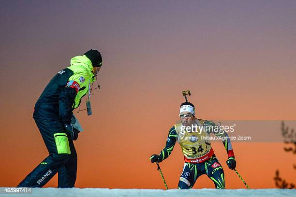 Martin Fourcade of France takes 1st place during the IBU Biathlon World Championships Men's Individual on March 12 2015 in Kontiolahti Finland