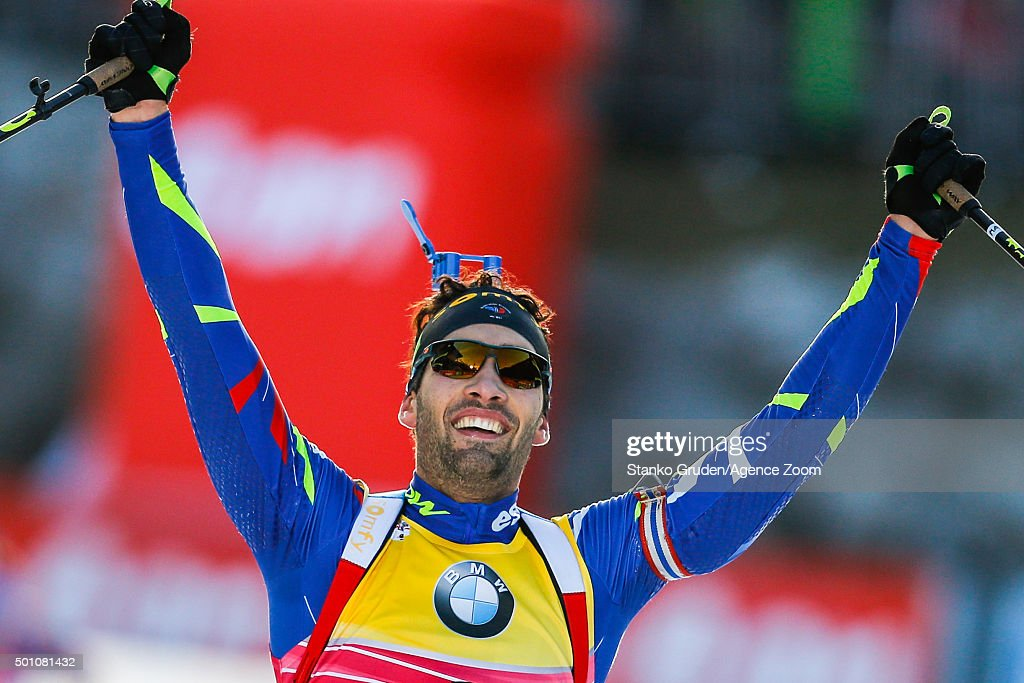 <a gi-track='captionPersonalityLinkClicked' href=/galleries/search?phrase=Martin+Fourcade&family=editorial&specificpeople=5656850 ng-click='$event.stopPropagation()'>Martin Fourcade</a> of France takes 1st place during the IBU Biathlon World Cup Men's and Women's Pursuit on December 12, 2015 in Hochfilzen, Austria.