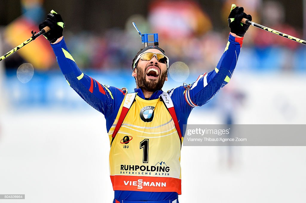<a gi-track='captionPersonalityLinkClicked' href=/galleries/search?phrase=Martin+Fourcade&family=editorial&specificpeople=5656850 ng-click='$event.stopPropagation()'>Martin Fourcade</a> of France takes 1st place during the IBU Biathlon World Cup Men's and Women's Mass Start on January 10, 2016 in Ruhpolding, Germany.