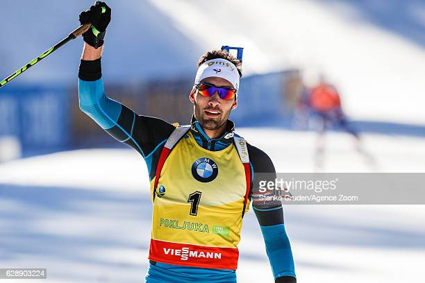 Martin Fourcade of France takes 1st place during the IBU Biathlon World Cup Men's and Women's Pursuit on December 10 2016 in Pokljuka Slovenia