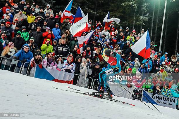 Martin Fourcade of France takes 1st place during the IBU Biathlon World Cup Men's and Women's Pursuit on December 17 2017 in Nove Mesto na Morave...