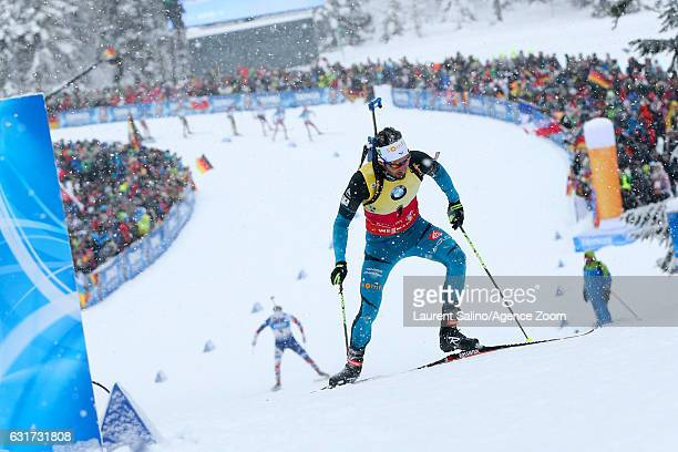 Martin Fourcade of France takes 1st place during the IBU Biathlon World Cup Men's and Women's Pursuit on January 15 2017 in Ruhpolding Germany