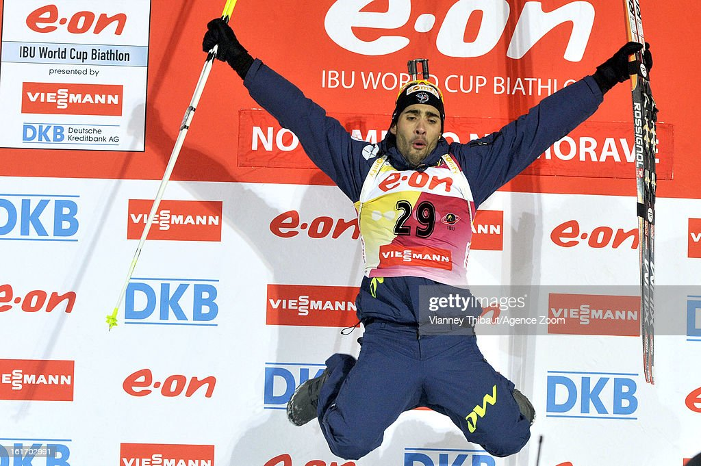 Martin Fourcade of France takes 1st place place during the IBU Biathlon World Championship Men's 15km Individual on February 13, 2013 in Nove Mesto, Czech Republic.