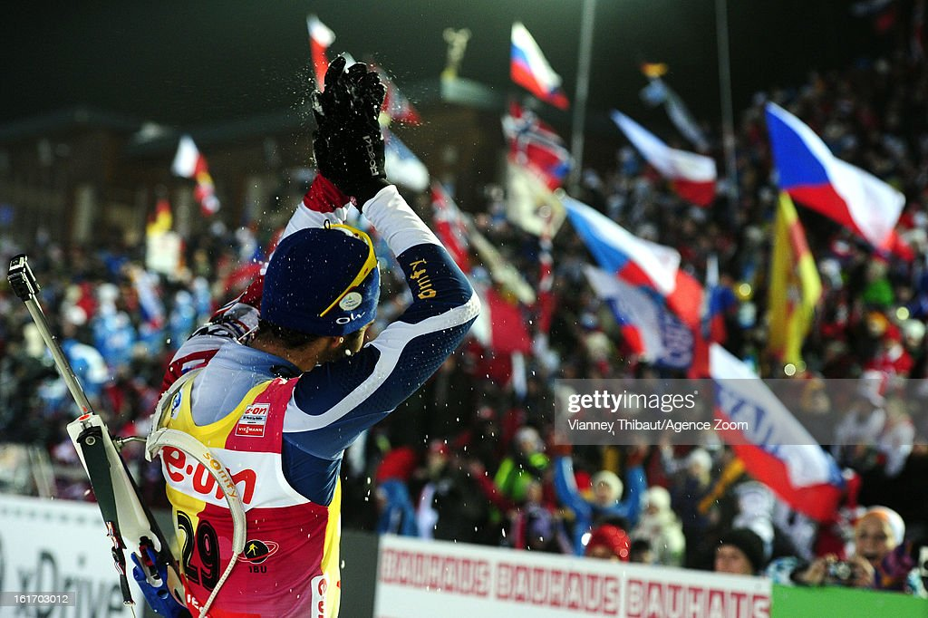 <a gi-track='captionPersonalityLinkClicked' href=/galleries/search?phrase=Martin+Fourcade&family=editorial&specificpeople=5656850 ng-click='$event.stopPropagation()'>Martin Fourcade</a> of France takes 1st place place during the IBU Biathlon World Championship Men's 15km Individual on February 13, 2013 in Nove Mesto, Czech Republic.