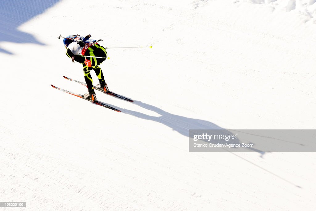 Martin Fourcade of France takes 2nd place during the IBU Biathlon World Cup Men's Relay on December 09, 2012 in Hochfilzen, Austria.