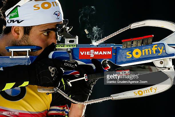 Martin Fourcade of France takes 3rd place during the IBU Biathlon World Cup Men's and Women's Pursuit on December 20 2014 in Pokljuka Slovenia