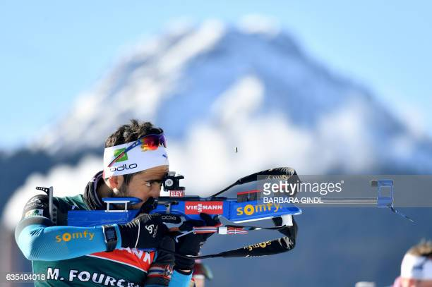 Martin Fourcade of France takes part in the men's training of the Biathlon World Championships in Hochfilzen Austria February 15 2017 / AFP / APA /...