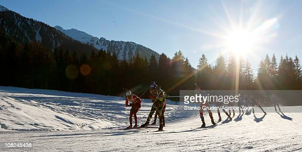 Martin Fourcade of France wins 1st place during the IBU World Cup Biathlon Men's 15 km Mass Start on January 22 2011 in AntholzAnterselva Italy