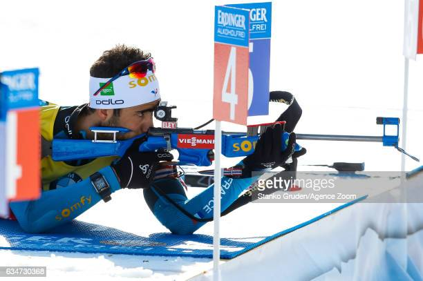 Martin Fourcade of France wins the bronze medal during the IBU Biathlon World Championships Men's Sprint on February 11 2017 in Hochfilzen Austria