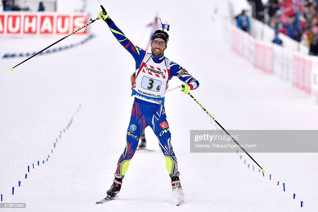 <a gi-track='captionPersonalityLinkClicked' href=/galleries/search?phrase=Martin+Fourcade&family=editorial&specificpeople=5656850 ng-click='$event.stopPropagation()'>Martin Fourcade</a> of France wins the gold medal during the IBU Biathlon World Championships Mixed Relay on March 3, 2016 in Oslo, Norway.