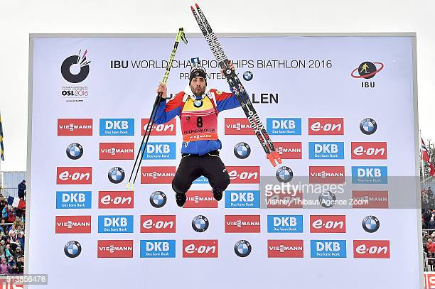 Martin Fourcade of France wins the gold medal during the IBU Biathlon World Championships Men's and Women's Sprint on March 5 2016 in Oslo Norway