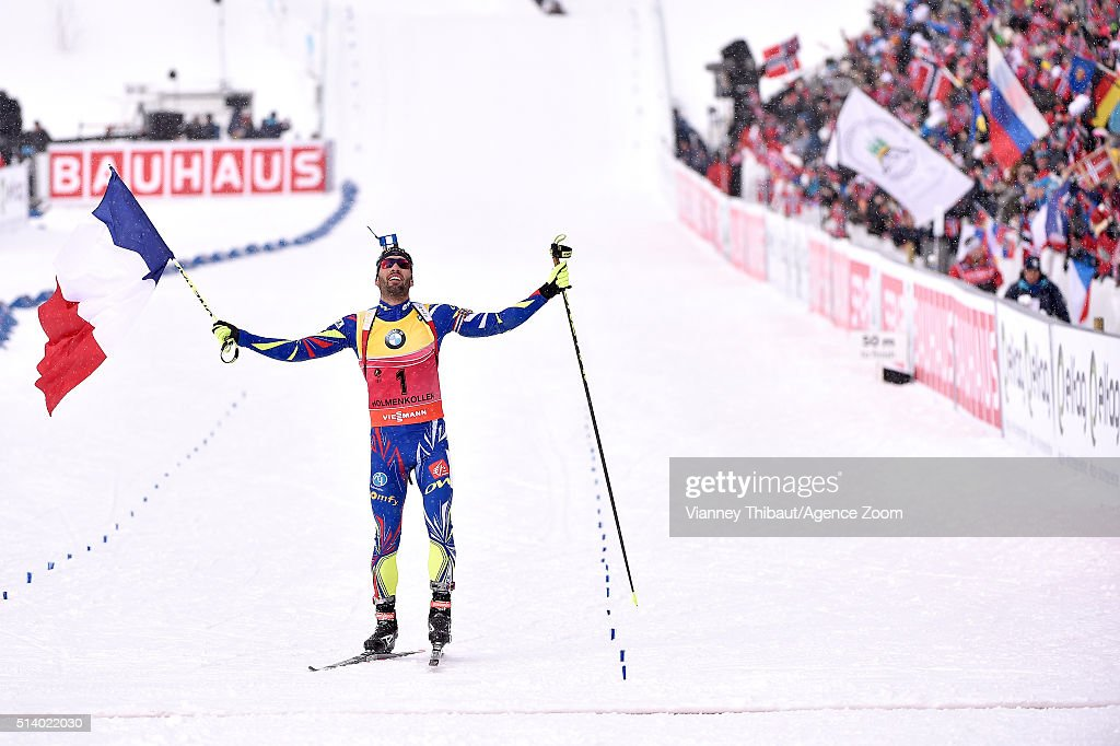 <a gi-track='captionPersonalityLinkClicked' href=/galleries/search?phrase=Martin+Fourcade&family=editorial&specificpeople=5656850 ng-click='$event.stopPropagation()'>Martin Fourcade</a> of france wins the gold medal during the IBU Biathlon World Championships Men's and Women's Pursuit on March 6, 2016 in Oslo, Norway.