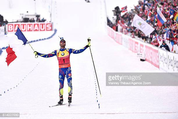 Martin Fourcade of france wins the gold medal during the IBU Biathlon World Championships Men's and Women's Pursuit on March 6 2016 in Oslo Norway