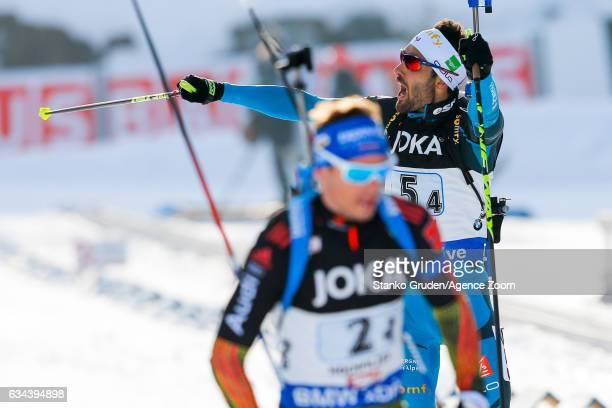 Martin Fourcade of France wins the silver medal during the IBU Biathlon World Championships Mixed Relay on February 9 2017 in Hochfilzen Austria