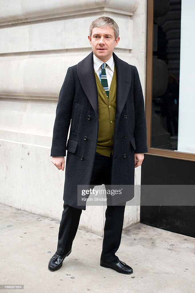<a gi-track='captionPersonalityLinkClicked' href=/galleries/search?phrase=Martin+Freeman&family=editorial&specificpeople=214753 ng-click='$event.stopPropagation()'>Martin Freeman</a> actor wearing a Paul Smith jacket on day 2 of London Mens Fashion Week Autumn/Winter 2013, on January 08, 2013 in London, England.