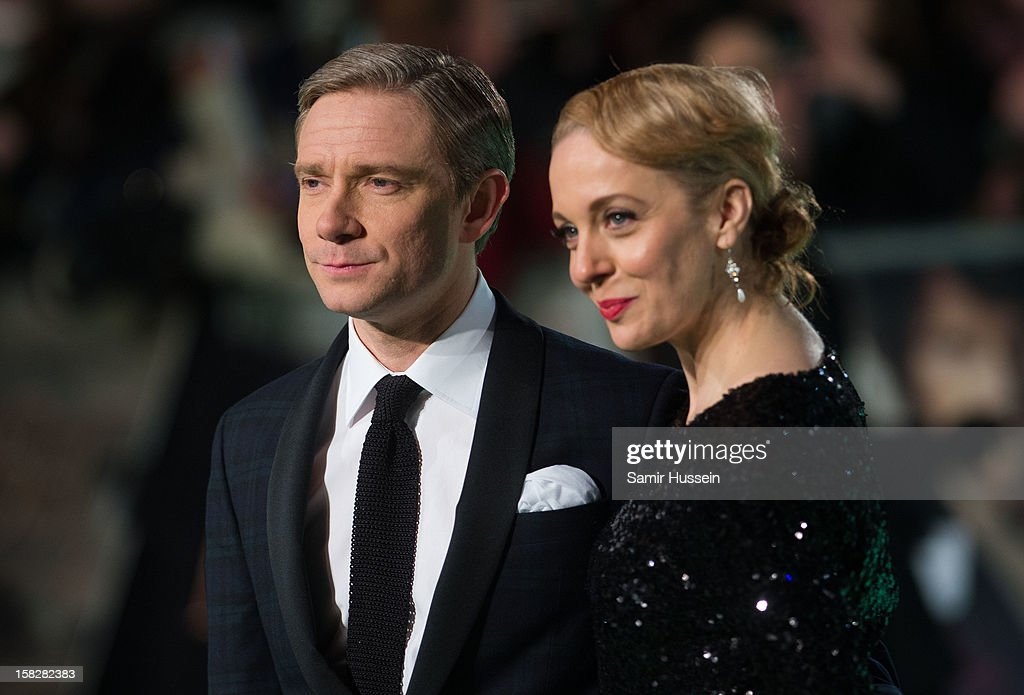 <a gi-track='captionPersonalityLinkClicked' href=/galleries/search?phrase=Martin+Freeman&family=editorial&specificpeople=214753 ng-click='$event.stopPropagation()'>Martin Freeman</a> and Amanda Abbington attend a royal film performance of 'The Hobbit: An Unexpected Journey' at The Empire Leicester Square on December 12, 2012 in London, England.